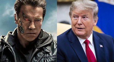 Schwarzenegger Trump and Un Terminator